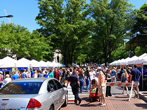 Saturday Morning Market on Main Street Downtown Greenville SC.