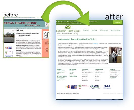 Website Redesign, before and after for SHC.