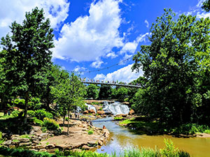 Falls Park, historic west end, downtown Greenville, SC